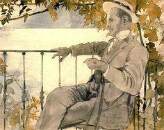 Alexandre Benois, Russian (1870-1960) Portrait of Mstislav Dobujinsky on the Terrace of the Villa du Midi