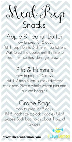 Meal prep snack ideas. #theleanlemon