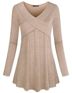 Quinee Pullover Sweaters for Women, Ladies Long Sleeve V Neck Casual Loose Flowy Tunic Tops Enough Room for Tummy and Hip Slim Fit Outdoor Performance T-Shirt Khaki XL Kurta Designs, Blouse Designs, Blouses For Women, Sweaters For Women, Basic Outfits, Mode Hijab, Blouse Styles, Aesthetic Clothes, Dress Patterns