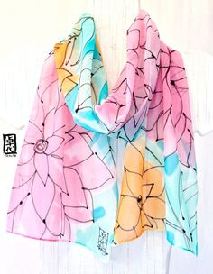 Hand Painted Silk Scarf Pink and Mint Floral by SilkScarvesTakuyo, $72.00