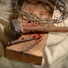 Cross with Crown of Thorns, Nails and Hammer / © Ginosphotos / Getty Images Pro Jesus Crucifixion Pictures, Pictures Of Jesus Christ, Christus Tattoo, Church Altar Decorations, Jesus Christ Painting, Image Jesus, Jesus Wallpaper, Jesus Face, Biblical Art