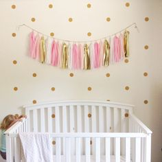 Polka dot wall decals | Gold glitter circle decals | set of 60 2 inch stickers | circle wall stickers by PeachyDetails on Etsy https://www.etsy.com/listing/235528776/polka-dot-wall-decals-gold-glitter
