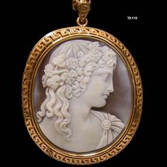 Carved Shell Cameo Pendant/Brooch Depicting Bacchantes - Mounted In An 18k Gold Frame