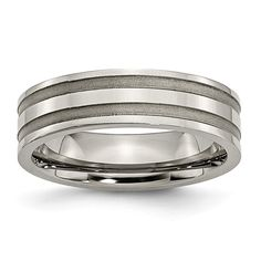 Titanium Grooved 6 MM Brushed and Polished Wedding Band from Bridal Collection. This Grooved Brushed and Polished Wedding Band is titanium. White Gold Wedding Rings, Wedding Rings For Women, Wedding Ring Bands, Band Rings For Her, Rings For Men, Wedding Ring Pictures, Wedding Ring Designs, Titanium Rings, Types Of Rings