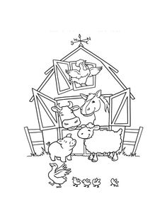 Funny animals farm animals clipart black and white 562 for Barn animals coloring pages