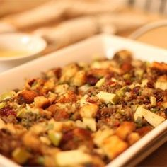 this is the stuffing I make every year, the only stuffing I will eat!! Nick begs me to make it all the time!!!! I KATRINA NOTE TO SELF: I never use the turkey liver, I use sweet Italian sausage instead of turkey sausage.          Awesome Sausage, Apple and Cranberry Stuffing - Allrecipes.com