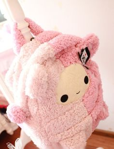 Cute and pink towel plushie bag