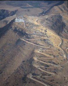 Susita (Hippos), aerial close up of Greek city looking east, Galilee, Israel