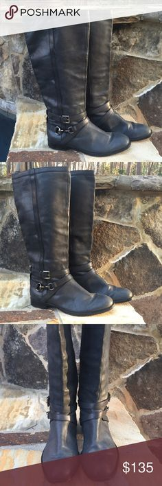 Coach Marlena dk gray Riding boots-buckle-sZ-9 ❤️ Coach Marlena dark Gray pull on riding boots with ankle buckle- gorgeous love these great shape and high end leather- Excellent Shape- love these . Size 9 Coach Shoes Winter & Rain Boots