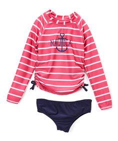 Take a look at this Pink & White Stripe Rashguard Set - Infant, Toddler & Girls today!