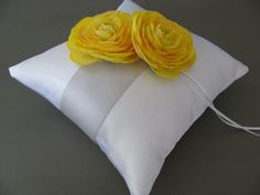 Ring pillow. beautiful. could make the flowers out of book pages.