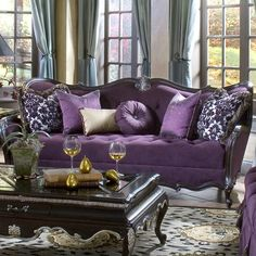 Lavelle Tufted Sofa in dark plum, perfect for transforming your living room, library, or den into a chic Old Hollywood retreat.