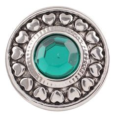 1 PC - 18MM Green Heart Rhinestone Silver Tone Charm for Candy Snap Jewelry KC5037 CC2657