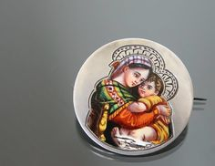 Victorian Enamel Madonna with Child Brooch. 800 Silver. Mother Mary Religious Pin.