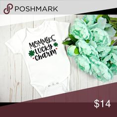 Mommy's Lucky Charm Onesie Perfect onesie for a coming home outfit or everyday wear.  Made with quality heat transfer vinyl if you have any questions please don't hesitate to ask.   Reasonable offers considered   **Current turn around time is 3 business days before shipping ** 1. Wash garment inside out 2.Wash in cold water  3. Do not use bleach/fabric softener 4. Do not iron directly on the transferred area   Don't forget to check out our Instagram! @minimagnoliaboutique  Thank you for…