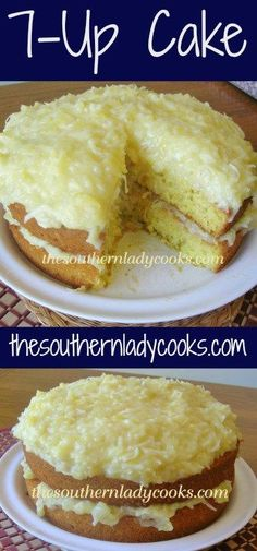 This Cake is delicious and the pineapple topping just makes it even better! You could use any frosting you like on this cake but my family enjoys the pineapple along with the lemon flavor. Seven Up Cake, 7 Up Cake, Cake Mix Recipes, Baking Recipes, Dessert Recipes, 7up Cake Recipe, Yummy Recipes, Donut Recipes, Lemon Recipes