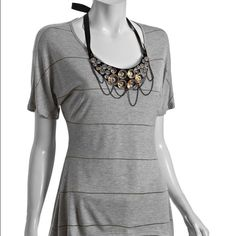 Romeo and Juliet Couture Top grey metallic stripe jersey scoopneck necklace t-shirt Romeo & Juliet Couture Tops