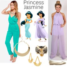 DIY Halloween Costume   #PrincessJasmine #Aladdin #Tiger #BaubleBar #goldjewelry #turquoise #purple #jumpsuit   #fashionblog @lilperfectdress