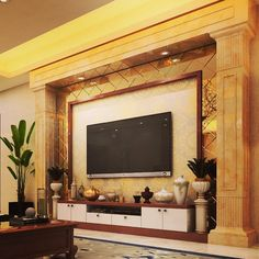 Image may contain: living room and indoor Modern Tv Unit Designs, Modern Tv Wall Units, Living Room Tv Unit Designs, Tv Unit Interior Design, Tv Unit Furniture Design, Furniture Projects, Furniture Makeover, Room Interior, Furniture Decor