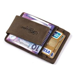 Men Crazy Horse crédito tarjeta titular Cartera De Cuero Con Magnetic Money Clip #MS