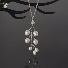 Freshwater pearl leaf necklace | Sterling silver wire and chain | Handmade white pearl woodland jewelry | Nature inspired branch pendant - Wedding nacklaces (*Amazon Partner-Link)