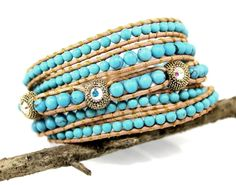 Gold Tone Crystal Bead Turquoise Wrap Bracelet #Jewelry http://www.Burghesa.com Made in USA