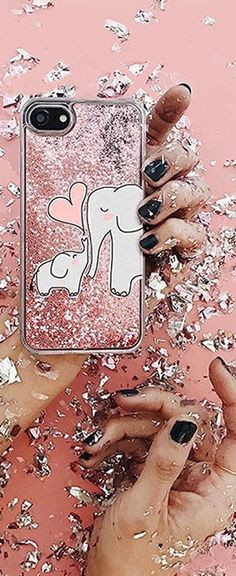 Casetify iPhone 7 Glitter Cases - Mom and Baby Elephant Love by Happy Cat Prints | Casetify