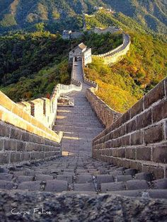 The Great Wall in China. - it really is this steep in places and was difficult for me to walk up but saw 80 year olds passing me with no difficulty!