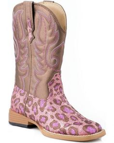 Love this Roper Pink & Brown Leopard Square-Toe Glitter Cowboy Boot by Roper on Cowboy Boot Bling, Roper Cowboy Boots, Girl Cowboy Boots, Botas Western, Western Boots, Western Wear, Toddler Boots, Kids Boots, Brown Leopard