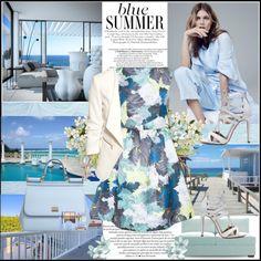 Blue Summer ! by fantasy-rose on Polyvore featuring polyvore moda style Erdem H&M Aquazzura Dolce&Gabbana Joybird Furniture blueandwhite dolceandgabbana summerstyle
