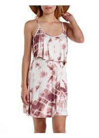Tie-Dye Flounce Tank Dress
