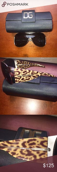 Dolce and Gabbana Leopard Print Shield Sunglasses Large shield face.  Charcoal gradient lenses with silver chrome hardware.  Leopard print arms, all info. Shown in pics 3-4.  Case included.  Excellent condition.  No trades. Dolce & Gabbana Accessories Sunglasses