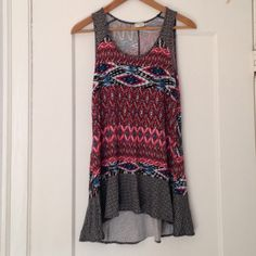 Fun Anthro Aztec Long Tank Great print! Super versatile style, cute with cut offs and sandals or gorgeous with leggings and boots!! Worn/washed once. Anthropologie Tops Tank Tops