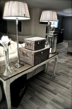 ♦Home~Accessories♦Sofa Table Decor. Table behind Couch Behind Sofa Table, Sofa Table Decor, Sofa Tables, Entry Tables, Table Lamps, My Living Room, Home And Living, Living Room Decor, Interior Decorating