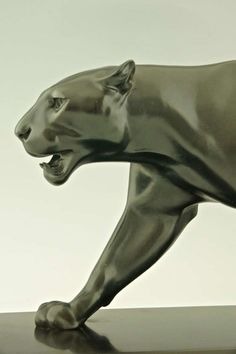 """View this item and discover similar animal sculptures for sale at - Art Deco sculpture of walking panther by Max Le Verrier. """"Art deco sculpture"""" by Victor Arwas, Academy. """"Bronzes, sculptors and founders"""" by H. Art Deco Stil, Art Deco Era, Modern Sculpture, Sculpture Art, Moda Art Deco, Statue Art, Bronze Art, Art Deco Furniture, Animal Sculptures"""