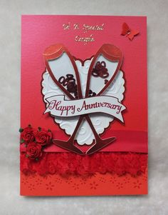 Handmade Ruby Wedding Anniversary Card by mandishella