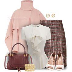 """Draped Wool Coat & Tweed Tartan Skirt Workwear"" by casuality on Polyvore"