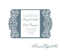 X Ornamental Wedding Invitation Envelope Svg Template