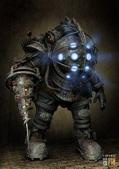 Bioshock Big Daddy Concept art x Bioshock Rapture, Bioshock 2, Bioshock Tattoo, Bioshock Series, Bioshock Infinite, Bioshock Cosplay, Video Game Art, Video Games, Game Character