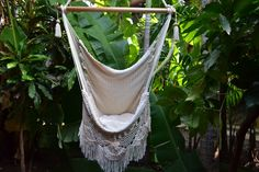Hanging Chair Sitting Hammock Porch Swing With Macrame Fringe Off-White Organic Cotton Indoor/Outdoor Mission Hammocks Handmade Crochet
