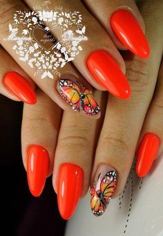 Nail art Christmas - the festive spirit on the nails. Over 70 creative ideas and tutorials - My Nails Butterfly Nail Designs, Butterfly Nail Art, Nail Art Designs, Orange Nails, Red Nails, Cute Nails, Pretty Nails, Flower Nails, Beautiful Nail Designs