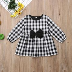 Bow Plaid Long Sleeve Dress from kidspetite.com! Adorable & affordable baby, toddler & kids clothing. Shop from one of the best providers of children apparel at Kids Petite. FREE Worldwide Shipping to over 230+ countries ✈️ www.kidspetite.com #girl #dresses #clothing #toddler