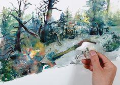 #Watercolor creativity workshop: Pour, Blend, Repeat, with Lian Quan Zhen. ^ch #watercolortechniques #paintingtips
