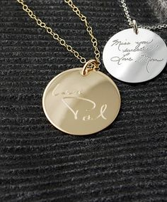 Loved one's actual handwriting - Signatures personalized on 14k Gold Filled circle pendant - charm only (no chain) Memorial jewelry on Etsy, $58.00