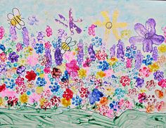 """Painting with pencils, and other medium; Literacy connection to """"Holly Bloom's Garden"""". Adorable."""