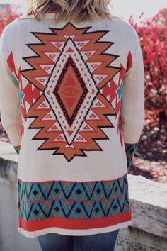 Ivory Aztec Print Open Front Cardigan
