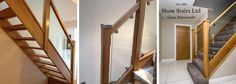 Glass Stair Railing Balustrade, Timber and Glass Handrails Glass Stair Balustrade, Oak Handrail, Stair Spindles, Staircase Handrail, Oak Stairs, Glass Stairs, Oak Newel Post, Stair Newel Post, Loft Conversion Stairs