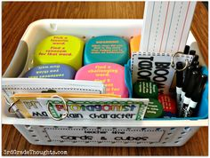 """Originally pinned as """"3rd Grade Thoughts: Updated Teacher Time Bin for Daily 5""""...BUT I like the idea of making up baskets to practice/reinforce ANY concept eg time, nouns, division, etc, etc"""