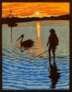 In the Shallows Linocut  by Rachel Newling