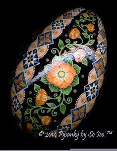Peach Floral Ukrainian Easter Egg Pysanky By So Jeo